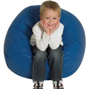 blue bean bag, bean bag chair