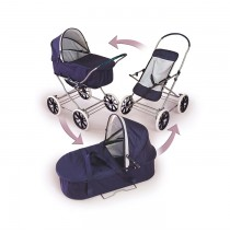 3-in-1 Nany/White Doll Pram, Carrier, & Stroller