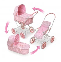 3-in-1 Pink Gingham Doll Pram, Carrier, & Stroller