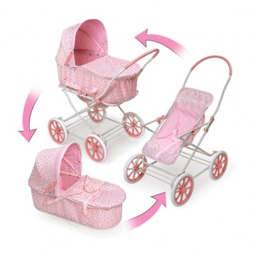 3-in-1 Pink Gingham Doll Pram, Carrier, & Stroller - 3-in-1-pink-rosebud-doll-pr-360x365.jpg