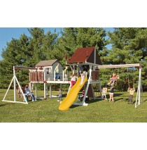 Vinyl Swing Set C8 Bridge Escape by Swing Kingdom  - Almond, Red, Yellow