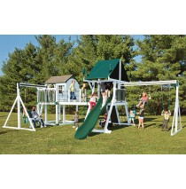 Vinyl Swing Set C8 Bridge Escape by Swing Kingdom  - White & Green