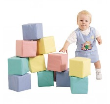 Toddler Baby Blocks Set of 12 in Pastel by Childrens Factory