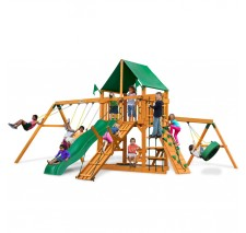 Frontier Swing Set w/ Amber Posts and Deluxe Green Vinyl Canopy