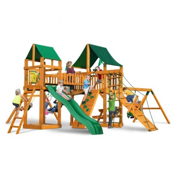 Pioneer Peak Cedar Swing Set w/ Amber Posts / Sunbrella Canvas Forest Green Canopy - 01-0006-AP-2-360x365.jpg