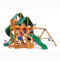 Great Skye I Swing Set w/ Amber Posts & Sunbrella Canvas Forest Green Canopy