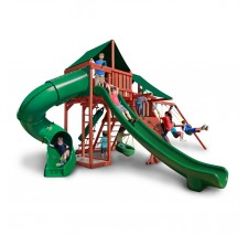 Sun Climber Deluxe Swing Set With Sunbrella Green Tarp