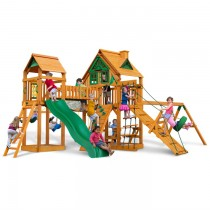 Pioneer Peak Treehouse Cedar Swing Set with Wood Roofs & Amber Posts