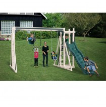Vinyl Swing Set A1 by Swing Kingdom- Almond & Green