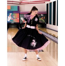 Complete Poodle Skirt Outfit (Black & Pink) Adult Plus Costume - 2X/3X