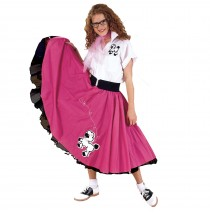 Complete Poodle Skirt Outfit (Pink & White) Adult Plus Costume - 2X/3X