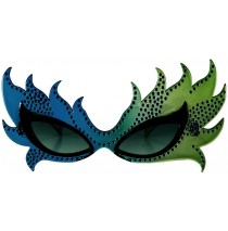 Feather Mask Glasses (Blue/Green) - One-Size