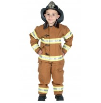 Jr. Fire Fighter Suit Tan Child Costume - Large (12-14)