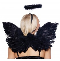 Deluxe Adult Black Angel Wings - One-Size