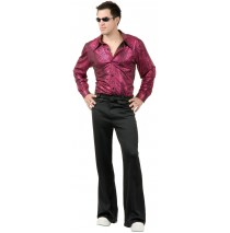 Disco Shirt - Liquid Red & Black Adult Costume - Medium