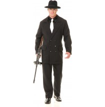 Gangster Double Breasted Suit (Black/Red) Adult Costume - Large