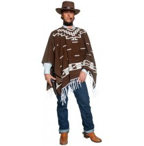 Western Brown Poncho Adult Costume - Medium