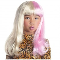 Two Tone Diva Blonde / Pink Child Wig - One-Size
