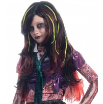 Long Black with Red and Green Streaks Child Wig - One-Size