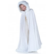 White Panne Cape with Fur Trim (Child) - One-Size