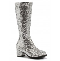 Kids Silver Glitter Gogo Boots - Large (2/3)