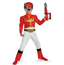 Red Power Ranger Megeforce Muscle Chest Toddler/Child Costume - Medium (3T-4T)