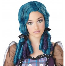 Teal & Purple Doll Curls Wig