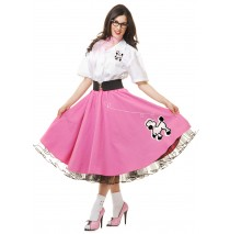 Complete 50's Poodle Outfit Pink Adult Costume - Small