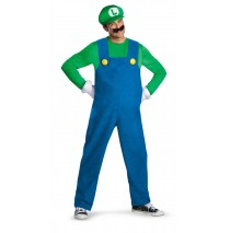 Super Mario Brothers Luigi Adult Plus Costume - Plus (50-52)