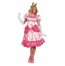 Super Mario Bros. - Deluxe Princess Peach Adult Costume - Small (4-6)