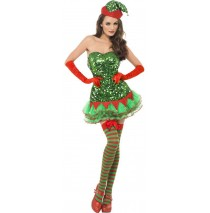 Fever Sequin Elf Adult Costume - X-Small (2-4)