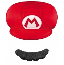 Super Mario Brothers Mario Kids Hat & Mustache - One-Size