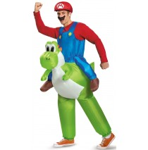 Super Mario Bros: Mario Riding Yoshi Inflatable Adult Costume - Standard One-Size