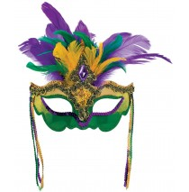 Mardi Gras Feather Venetian Mask - One-Size