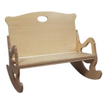 Child's Secured Puzzle Rocking Bench in Natural
