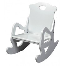 Child's Secured Puzzle Rocking Chair in White