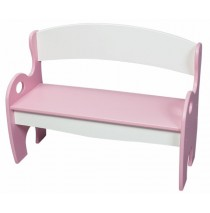 Pink & White Arched Back Kids Park Bench