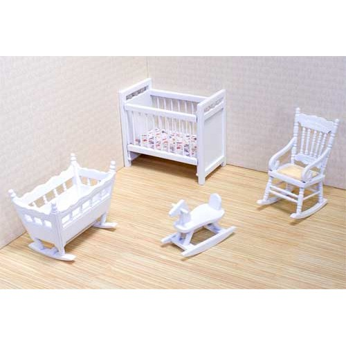 Nursery Furniture : ... & Doug: Victorian Dollhouse Nursery Furniture Set, Wooden Dollhouse