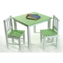 Lipper Green & White Table with 2 Chairs