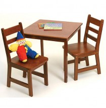 Lipper Child's Square Table & 2 Chairs Set - Cherry