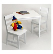 Lipper Child's Square Table & 2 Chairs Set - White