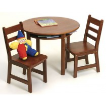 Lipper Child's Round Table & 2 Chairs Set - Cherry