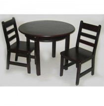 Lipper Child's Round Table & 2 Chairs Set - Espresso