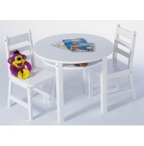 Lipper Child's Round Table & 2 Chairs Set - White