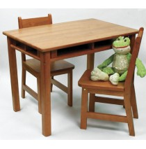 Lipper Child's Rectangle Table & 2 Chairs Set - Pecan