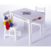 Lipper Child's Rectangle Table & 2 Chairs Set - White
