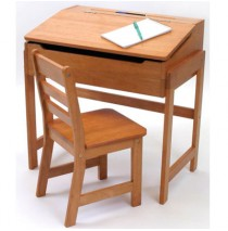 Lipper Slanted Top Desk With Chair in Pecan Finish