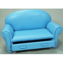 Blue Upholstered Chaise Lounge W/ Pull Out Drawer