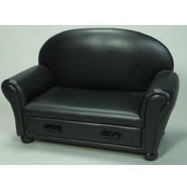 Black Upholstered Chaise Lounge W/ Pull Out Drawer