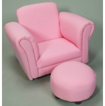 Pink Rocking Upholstered Chair with Ottoman